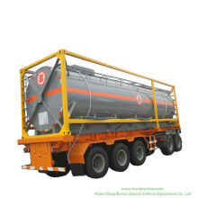 Hydrofluoric Acid Tank Container Un179 Hf for Road Transport (Tanker) in 30FT, 40FT Frame Steel Lined LDPE for HCl (max 35%) , Naoh (max 50%) , Naclo (max 10%)